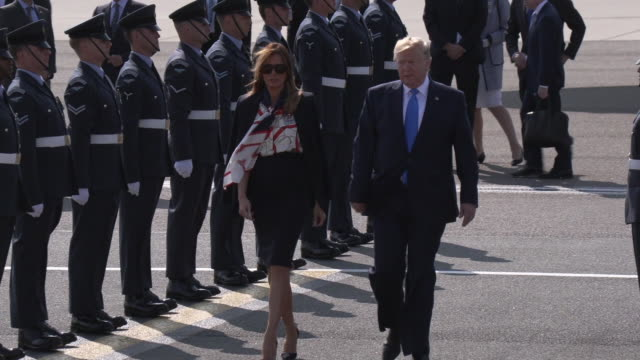 president trump first lady melania trump air force one arrival at stansted airport at donald trump uk visit on june 3 2019 in london united kingdom - donald trump us president stock videos and b-roll footage