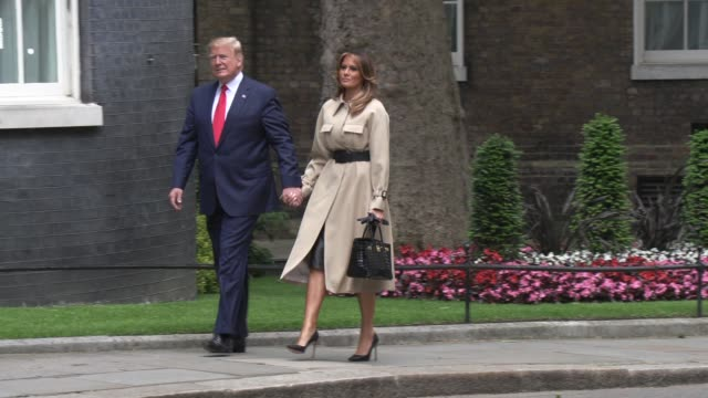 president trump first lady melania trump on june 04 2019 in london england - downing street stock videos and b-roll footage