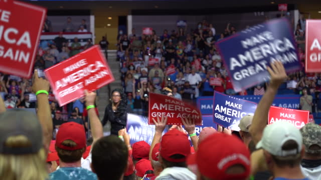 president trump holds his first rally since covid-19 lockdown in tulsa, ok, u.s., on saturday, june 20, 2020. - political rally stock videos & royalty-free footage