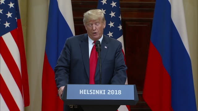 stockvideo's en b-roll-footage met president trump on calling president putin a competitor during the trump putin summit on july 16 2018 in helsinki finland - (war or terrorism or election or government or illness or news event or speech or politics or politician or conflict or military or extreme weather or business or economy) and not usa