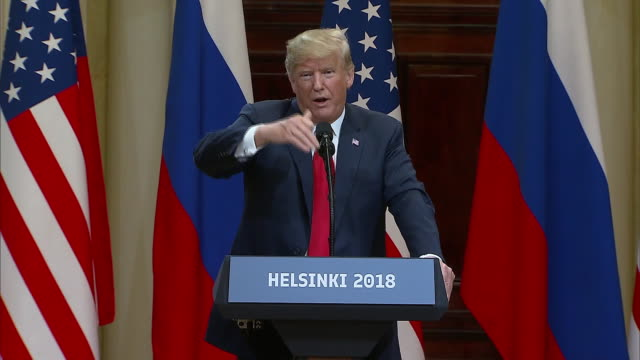 stockvideo's en b-roll-footage met president trump on president putinõs offer to have russian investigators work with us investigators during the trump putin summit on july 16 2018 in... - (war or terrorism or election or government or illness or news event or speech or politics or politician or conflict or military or extreme weather or business or economy) and not usa