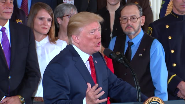 president trump opioid epidemic remarks. commenting on how the trumpêadiminstationêis going to crack down on gangs and arrest criminals for peddling... - rx stock videos & royalty-free footage