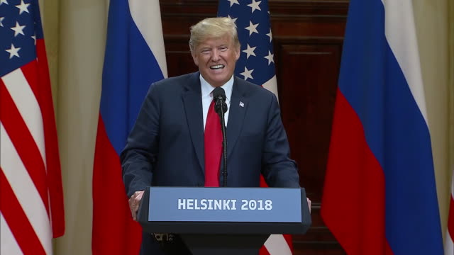 stockvideo's en b-roll-footage met president trump speaks about beating hillary clinton and the negative impact the collusion accusations have had on the us relationship with russia... - (war or terrorism or election or government or illness or news event or speech or politics or politician or conflict or military or extreme weather or business or economy) and not usa