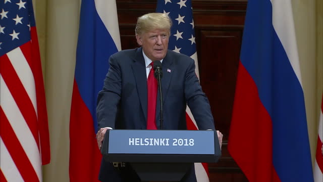 stockvideo's en b-roll-footage met president trump speaks about helping people in syria during the trump putin summit on july 16 2018 - business or economy or employment and labor or financial market or finance or agriculture