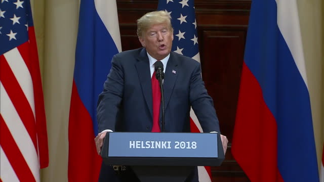 stockvideo's en b-roll-footage met president trump speaks about holding both countries responsible during the trump putin summit on july 16 2018 in helsinki finland - (war or terrorism or election or government or illness or news event or speech or politics or politician or conflict or military or extreme weather or business or economy) and not usa