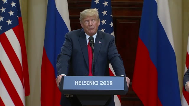 stockvideo's en b-roll-footage met president trump speaks about not seeing any reason why russia would interfere with the us election during the trump putin summit on july 16 2018 in... - (war or terrorism or election or government or illness or news event or speech or politics or politician or conflict or military or extreme weather or business or economy) and not usa