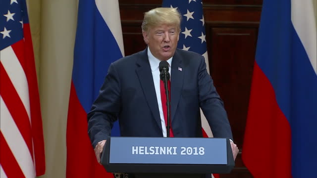 stockvideo's en b-roll-footage met president trump speaks about the deterioration of the relationship with russia and how that relationship changed as of four hours ago during the... - (war or terrorism or election or government or illness or news event or speech or politics or politician or conflict or military or extreme weather or business or economy) and not usa
