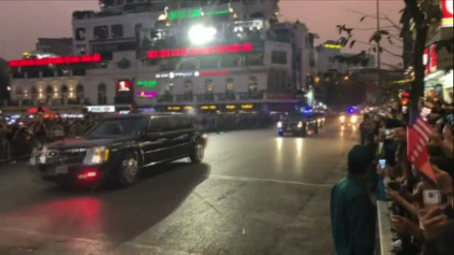 president trump's motorcade drives though hanoi vietnam crowds line the street during the trump kim summit between usa and north korea - us president stock videos & royalty-free footage
