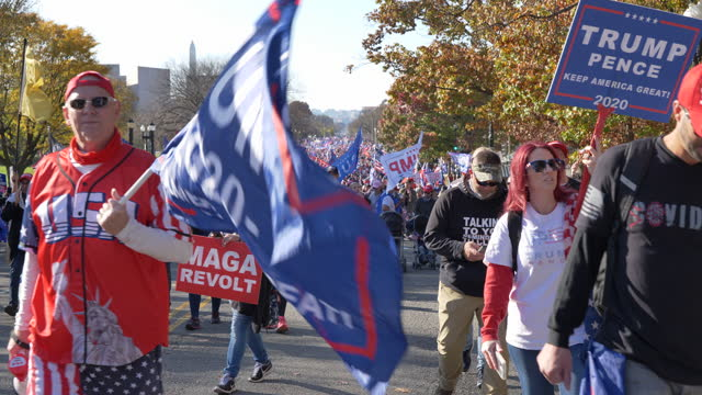 """president trump's supporters walk during the """"million maga march"""" to protest the 2020 election results on november 14, 2020 in washington dc.... - election stock videos & royalty-free footage"""