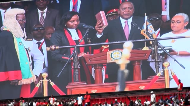president uhuru kenyatta was sworn into office for a second term on tuesday following disputed elections kenyans filled the 60000capacity kasarani... - kenyan flag stock videos & royalty-free footage