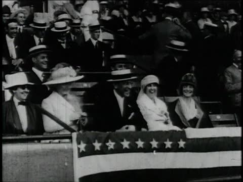 stockvideo's en b-roll-footage met president wilson throws the first ball at season opener / united states - woodrow wilson