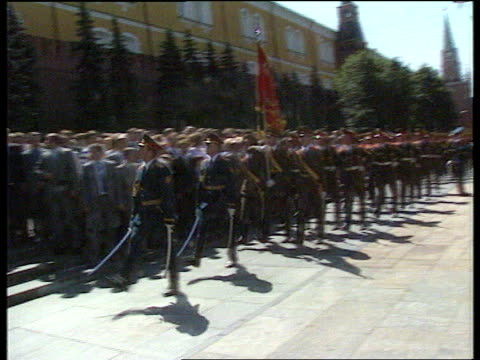 President Yeltsin swornin EXT CMS Svyatoslav Fyodorov intvwd SOF Both need to cooperate MS Soldiers goosestepping by as band play MS Yeltsin with...