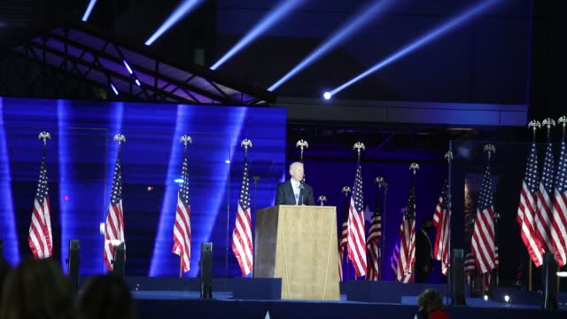 president-elect joe biden addresses the nation from the chase center november 07, 2020 in wilmington, delaware. after four days of counting the high... - speech stock videos & royalty-free footage