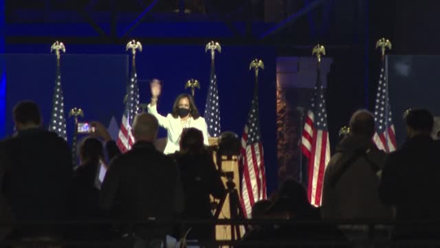 president-elect joe biden and us vice president-elect kamala harris give a victory speech followed by fireworks, in front of hundreds of supporters... - firework display stock videos & royalty-free footage