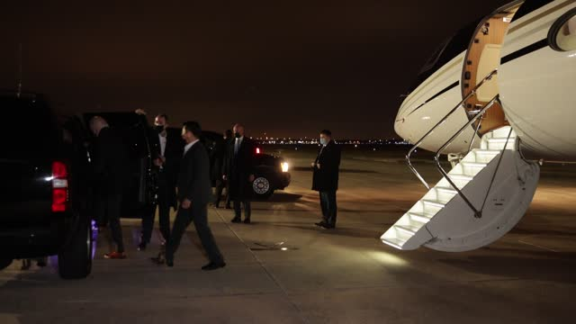president-elect joe biden steps off an airplane and into his motorcade after returning from georgia where he campaigned with democratic candidates... - georgia us state stock videos & royalty-free footage