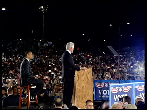 barack obama campaigns with bill clinton in florida bill clinton speech to crowds at rally as barack obama sits on stool looking on sot/ cutaways of... - stool stock videos & royalty-free footage