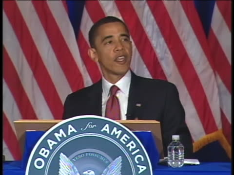 us presidential candidate barack obama addresses the democratic governors economic discussion in chicago illinois - business or economy or employment and labor or financial market or finance or agriculture stock videos & royalty-free footage
