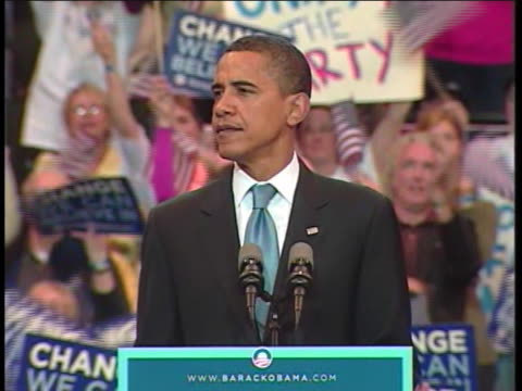 presidential candidate barack obama announces the primary season has ended to a crowd of supporters in saint paul, minnesota. - presidential candidate stock videos & royalty-free footage