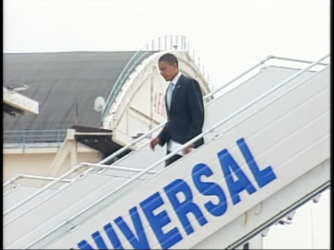 presidential candidate barack obama arrives in europe for his london-paris tour. - (war or terrorism or election or government or illness or news event or speech or politics or politician or conflict or military or extreme weather or business or economy) and not usa stock videos & royalty-free footage