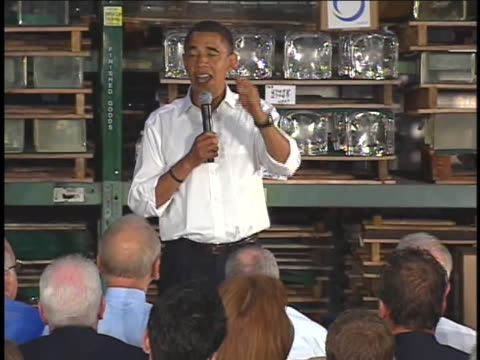 vídeos de stock, filmes e b-roll de us presidential candidate barack obama campaigns at the schott glass company - (war or terrorism or election or government or illness or news event or speech or politics or politician or conflict or military or extreme weather or business or economy) and not usa