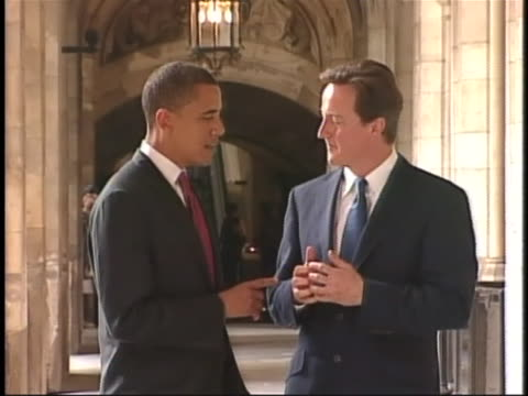 us presidential candidate barack obama converses with british conservative party leader david cameron - united states and (politics or government) stock videos & royalty-free footage