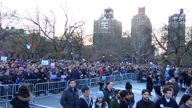 Presidential candidate Bernie Sanders speaks during the Bernie Sanders rally at Washington Square Park on April 13 2016 in Manhattan New York City USA