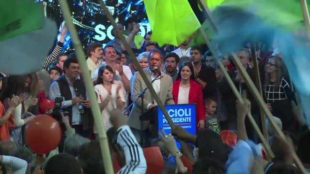 presidential candidate daniel scioli an ally of combative outgoing president cristina kirchner rallies followers in his stronghold in buenos aires... - buenos aires province stock videos & royalty-free footage