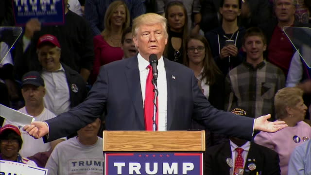 presidential candidate donald trump remarks òi love wikileaksó during a campaign rally in wilkes-barre, pennsylvania on october 10, 2016. - wilkes barre stock videos & royalty-free footage