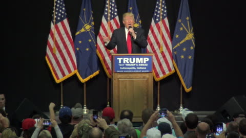stockvideo's en b-roll-footage met presidential candidate donald trump speaks to supporters at the indiana state fairgrounds. trump needs the indiana delegates to secure the republican... - omwalling