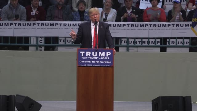 presidential candidate donald trump talks about free trade and self-financing of his campaign in concord, north carolina. - 関税点の映像素材/bロール