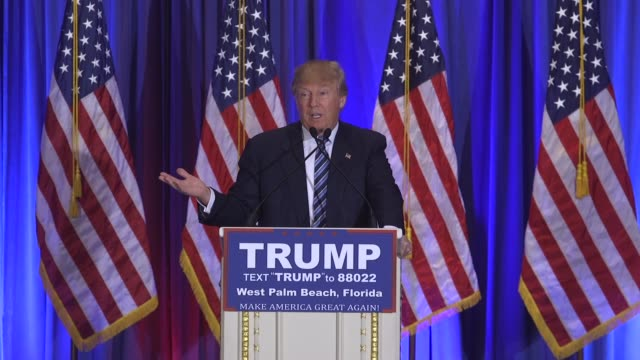 vidéos et rushes de presidential candidate donald trump talks about skipping cpac in west palm beach, fl during a press conference - press conference