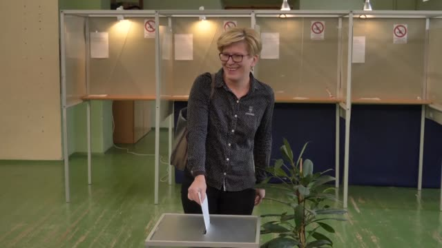 Presidential candidate Ingrida Simonyte casts her vote in Lithuania's presidential elections a tight runoff between two centre right rivals in a race...