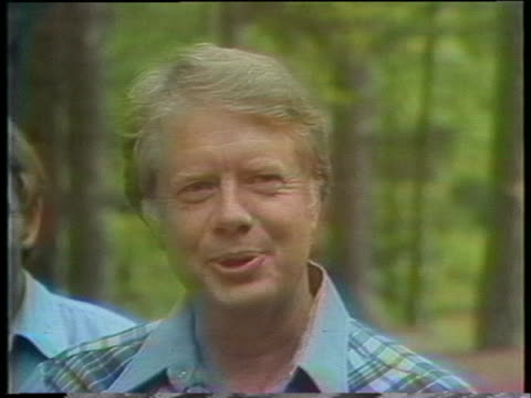 presidential candidate jimmy carter jokes about texas governor john connally's tendency to change political parties - john connally stock videos & royalty-free footage