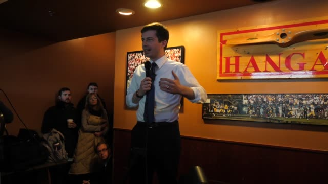 US Presidential candidate Pete Buttigieg talks about XXX during a campaign event in Iowa one year ahead of the Iowa caucus