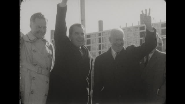 presidential candidate richard nixon arrives by helicopter, speaks to large crowd, president eisenhower speaks to crowd. - richard nixon stock videos & royalty-free footage