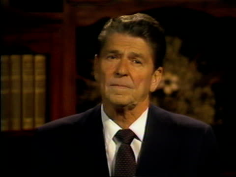 presidential candidate ronald reagan discusses the vision of america that has been brought to his attention in recent weeks, mentioning the temporary... - week video stock e b–roll