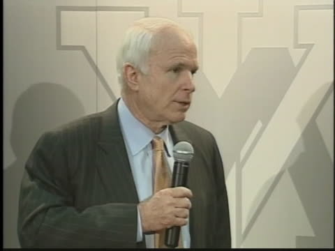 presidential candidate senator john mccain discusses his ambitions versus the war in iraq during a press conference. - (war or terrorism or election or government or illness or news event or speech or politics or politician or conflict or military or extreme weather or business or economy) and not usa stock videos & royalty-free footage