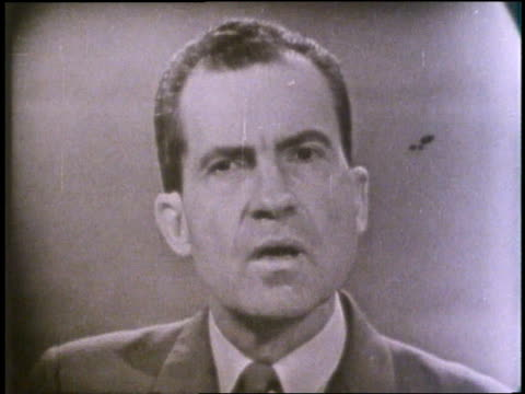 us presidential candidates richard nixon and john f kennedy appear on a televised debate - debatte stock-videos und b-roll-filmmaterial