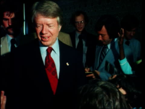 presidential election 1976: jimmy carter interview; usa: florida: palm beach: int jimmy carter towards and hugs child jimmy carter smiles gvs jimmy... - jimmy carter us president stock videos & royalty-free footage