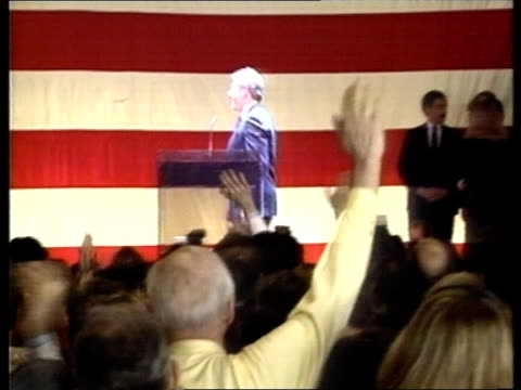 bill clinton wins four more primaries a c4n usa new york int ms side bill clinton shaking man then waves from stage as people round him clapping pull... - bill clinton stock videos & royalty-free footage