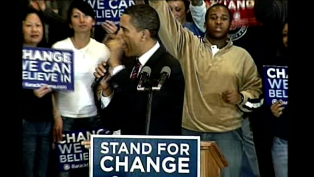 stockvideo's en b-roll-footage met iowa caucuses underway barack obama addressing rally sot you will say 'yes we can' to change obama acknowledging audience - 2008