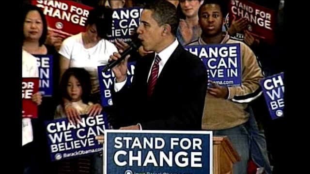 iowa caucuses underway int barack obama sounding hoarse as addressing rally sot - obama stock videos & royalty-free footage