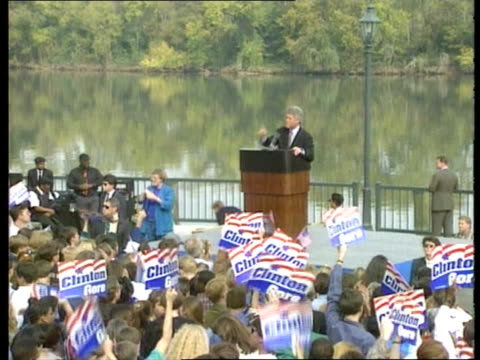 stockvideo's en b-roll-footage met politics / presidential election campaign itn georgia augusta bill clinton speaking at rally lms bill clinton speech sof i entered this race to lift... - politics and government