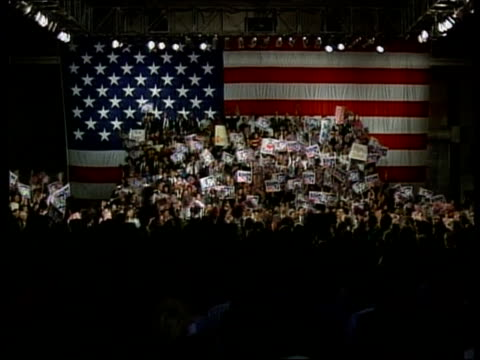 politics / presidential election campaign itn iowa ext pres george bush at rally pull out to large crowd of supporters pres george bush speaking at... - gore stock videos and b-roll footage