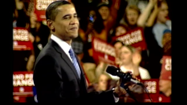 new hampshire primary 412008 usa iowa des moines int barack obama along onto stage at rally with wife and children and waving to supporters... - 2008 stock videos and b-roll footage