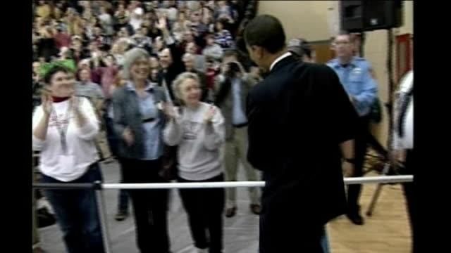 vídeos y material grabado en eventos de stock de new hampshire primary voting int barack obama at rally - primary election