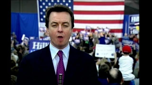 vídeos y material grabado en eventos de stock de new hampshire primary voting reporter to camera - primary election
