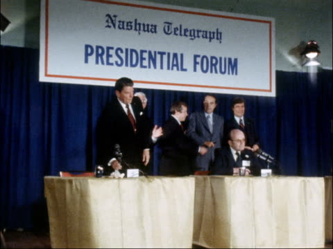 New Hampshire INT Governor Ronald Reagan on stage as joined by / four other Republican Presidential candidates John Anderson Howard Baker Bob / Dale...