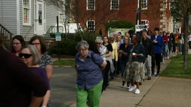 Presidential Election candidate Beto O'Rourke begins campaigning USA Virginia Fredericksburg EXT Various of people queuing for Beto O'Rourke rally...