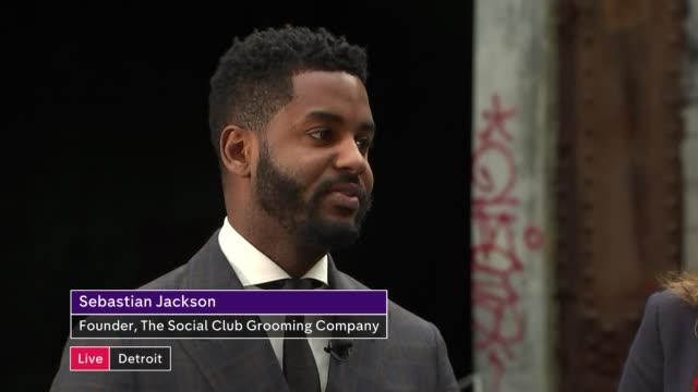 Detroit profile USA Michigan Detroit EXT Karis Smith and Sebastian Jackson LIVE interviews SOT CUTAWAYS Packard derelict factory and reporter with...